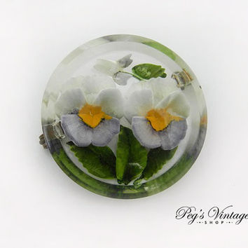 Lucite Floral Reverse Brooch / Pin, 1940's Vintage Antique Jewelry