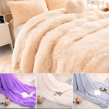 Shaggy Fuzzy And Fluffy Faux Fur Soft Throw Blanket