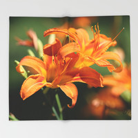 Day Lily Dance Throw Blanket by Theresa Campbell D'August Art