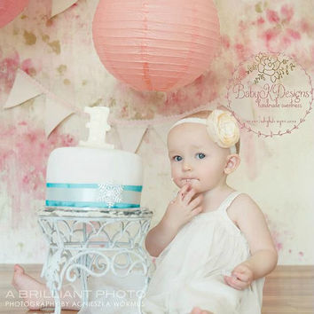 Baby Headband, Newborn Girl Ivory Flower Lace Headbands | First Birthday | Neutral Bow Headband | Wedding Baptism Christening Cake Smash