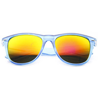 Translucent Horned Rim Mirror Lens Sunglasses 8652