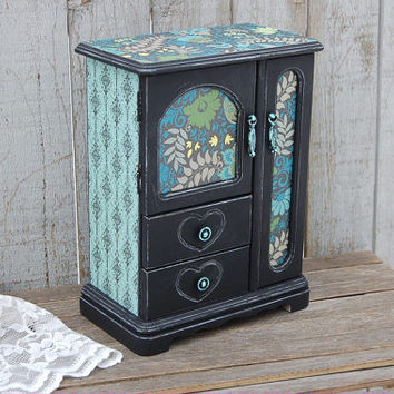 Jewelry Box, Jewelry Armoire, Shabby Chic, Black, Mint Green, Turquoise, Decoupage, Hand Painted, Distressed, Upcycled, Jewelry Organizer