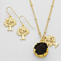 Tree Of Life Druse Pendant Necklace Black