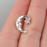 Top Down Cresent Moon Star Belly Button Jewelry Ring