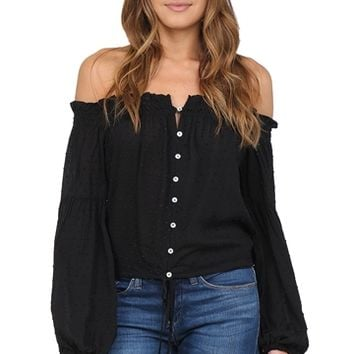 Black Off The Shoulder Top at Blush Boutique Miami - ShopBlush.com : Blush Boutique Miami – ShopBlush.com
