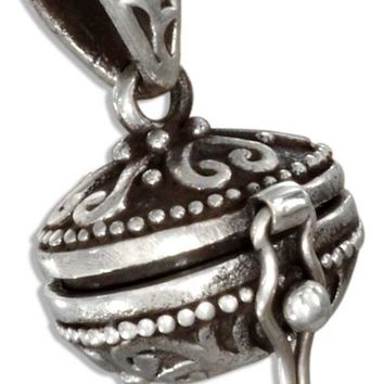 Sterling Silver Antiqued Oval Prayer Box Locket With Hearts And Scrolls