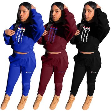 Champion New fashion letter print hooded long sleeve top and pants two piece suit