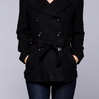 Lorelei Fleece Pea Coat: Black