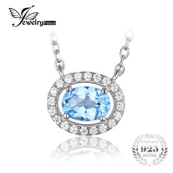 JewelryPalace Round 1ct Natural Blue Topaz 925 Sterling Silver Solitaire Pendant Necklace 45cm Chain Jewelry for Women On Sale