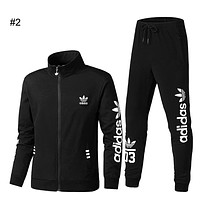 ADIDAS Clover autumn and winter hooded cardigan sweater + sweatpants casual sports two-piece #2