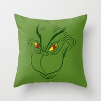 Green Grinning Grinch Throw Pillow by LookHUMAN