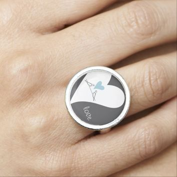 Cute white birds in love rustic pretty ring for her birthday, Valentine's Day, wedding, or anniversaries