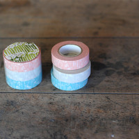 Masking Tape - Classiky, Small Flower, 15mm x 15m, Set of 3 Rolls