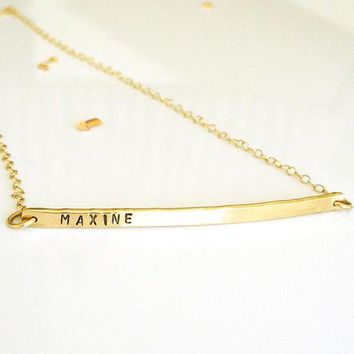 Gold Nameplate Necklace   Personalized Bar Necklace   14k Gold Or Rose Gold   Name Bar Necklace