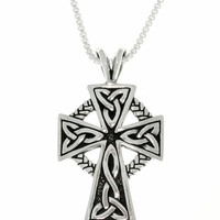 Carolina Glamour Collection Antique Finish Sterling Silver Celtic Cross Pendant (18-inch) | Overstock.com Shopping - The Best Deals on Men's Necklaces