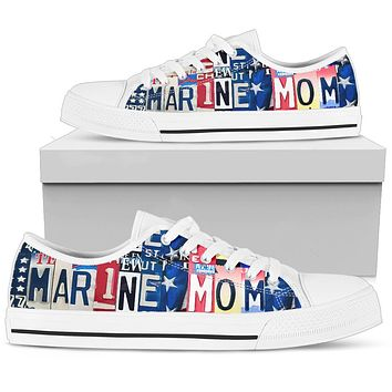Proud Marine Mom Low Top Shoes