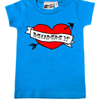 Mommy Heart Tattoo Turquoise T-shirt