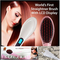 Professional Straightening Iron Comb With LCD Display Electric Straight Comb Straightener Iron Brush Flat Irons