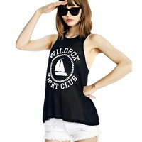 Black Wildfox Yatch Club Print Sleeveless Chiffon Top