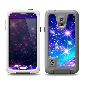 The Glowing Pink & Blue Starry Orbit Samsung Galaxy S5 LifeProof Fre Case Skin Set