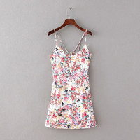 Summer Women's Fashion Stylish Cotton Print Spaghetti Strap Dress [4914978244]