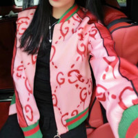 GUCCI early spring new style women's printed casual jacket with long sleeves and short sleeves