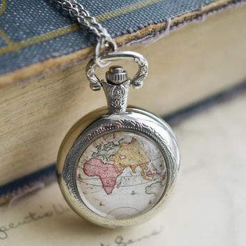 Silver World Map Pocket Watch Necklace