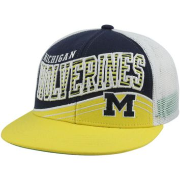 Top of the World Michigan Wolverines Electric Slide Snapback Hat - Navy Blue/Maize/White