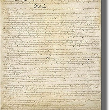 Original Written Constitution Picture on Stretched Canvas, Wall Art Decor, Ready to Hang!