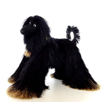 Miniature Toys, Black Afghan Hound, Cute dog figurine, Stuffed Animal, Fun Plush Toy, Movable Figurine Dog, Cute Toy, Mini Toy, OOAK Artist,