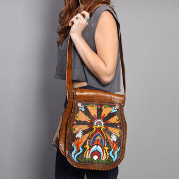 70s Boho LEATHER PURSE / Hand Painted Artisan Signed Psychedelic Bag