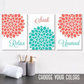 Bathroom Decor, Turquoise CORAL BATHROOM Wall Art, Bathroom Canvas or Print Relax Soak Unwind, Bathroom Quotes Pictures, Set of 3 Wall Art