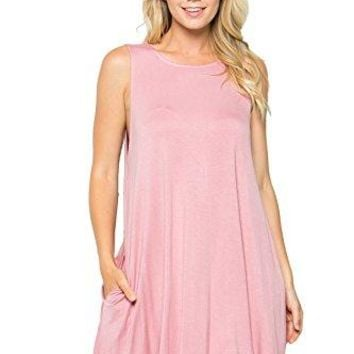 Residents On Womens Casual Sleeveless Comfy Loose Swing Tunic Dresses