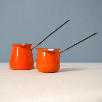 Two Red Orange Enamel Turkish Coffee Pots or Butter Warmers
