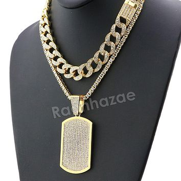 Hip Hop Iced Out Quavo DOG TAG Miami Cuban Choker Tennis Chain Necklace L08