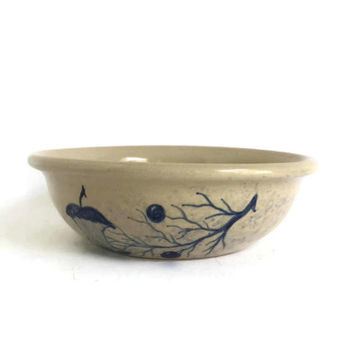 Ceramic Mixing Bowl by Paul Storie Pottery of Marshall Texas Hand Painted and Signed, Shallow Mixing Bowl, Ceramic Fruit Bowl Stoneware Bowl
