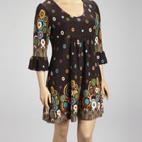 Charcoal Retro Rainbow Three-Quarter Sleeve Dress - Plus