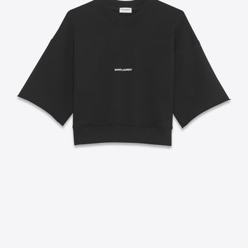 short sleeve saint laurent cropped sweatshirt in black french terrycloth