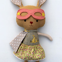Superhero bunny plush,stuffed rabbit ragdoll toy for easter, for babyshower, ideal softie as a toddler gift