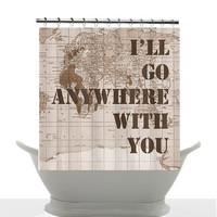 Vintage Map Shower Curtain - Military Family - Quote - Home Decor - Travel - Bathroom, Khaki, brown, love, army, marines