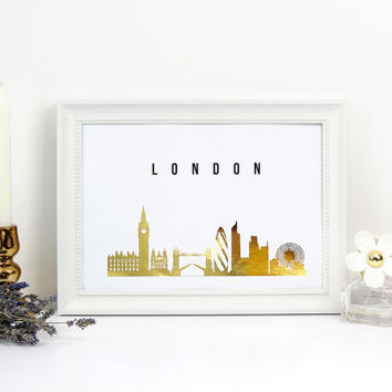 London Skyline, London Print, Real Gold Foil Print, Office Decor, Illustration Art Print, Office Wall Art, London Art, Great Britain.