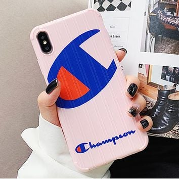 Champion New fashion letter logo couple protective cover phone case Pink