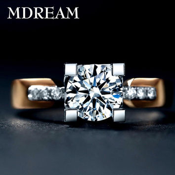2 Carat CZ Diamond ring with 18kgp gold plated and AAA Zircon for women Romantic noble Engagement ring jewelry 18K015