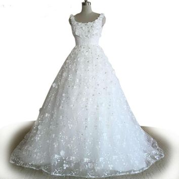 Elegant white lace Ball Gown wedding dress Royal Train Applique Beading wedding dress backless