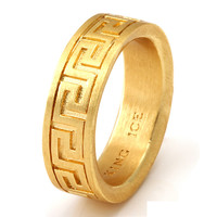 14K Gold Round Greek Key Ring