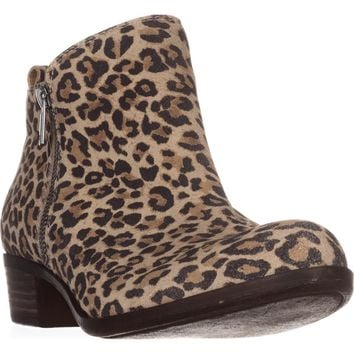 Lucky Brand Basel Side Zip Ankle Boots, Natural Leopard, 7 US / 37 EU