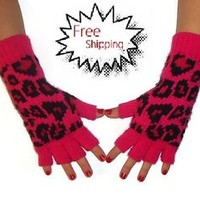 Pink Animal Print Gloves Fingerless Texting Winter Gloves Womens Knit Gloves