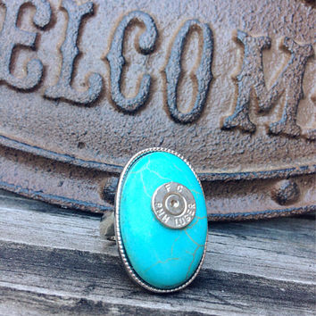 Bullet jewelry. Bullet ring. Turquoise ring