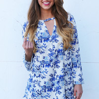 Something Bold + Something Blue Printed Swing Dress