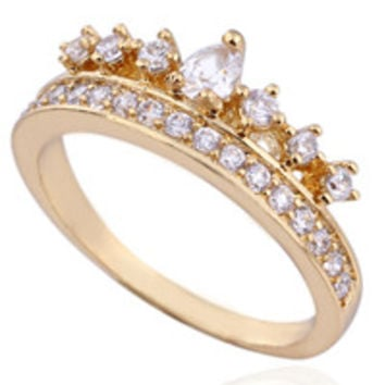 Delicate Gold Plated CZ Crown Ring - CLEARANCE